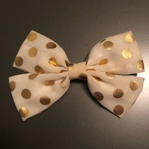 Cream with gold dots hair bow